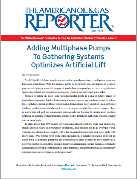 Adding Multiphase Pumps To Gathering Systems Optimizes Artificial Lift